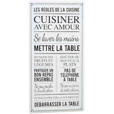 """Plaque message """"les règles de la cuisine"""""""