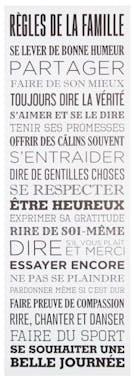 """Plaque message """"Les Règles de la Famille"""" toile imprimée sur bois coloris blanc 30x90cm"""