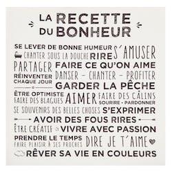 """Plaque message sur toile imprimé """"Recette du Bonheur"""" coloris blanc 38x38cm"""