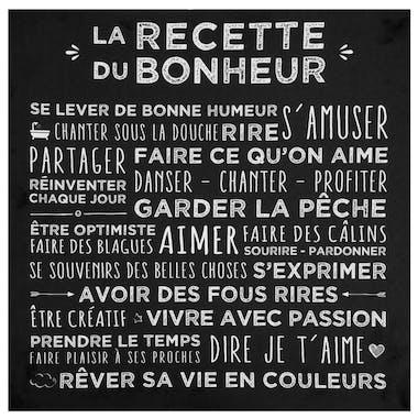 """Plaque message sur toile imprimé """"Recette du Bonheur"""" coloris noir 38x38cm"""