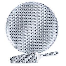 Plat à Tarte D30cm + Pelle Indigo motifs tons bleus