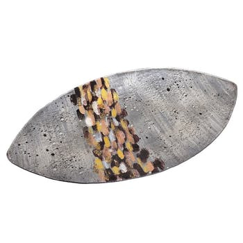 Plat en verre or et argent forme ovale