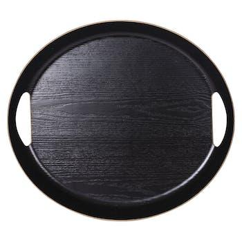 Plateau ovale noir à poignées