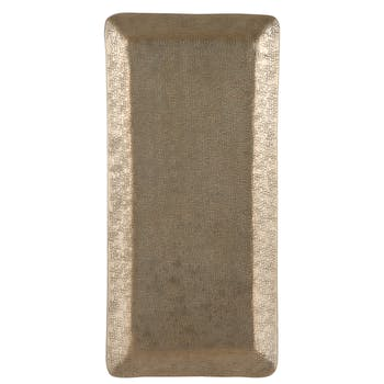 Plateau rectangle métal doré mat 35,5 cm