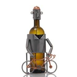 Porte bouteille Cycliste avec son vélo et son casque sur la tête en métal 24xH18cm - Coloris alu et cuivre
