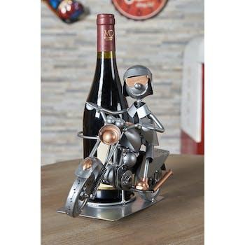 Porte-bouteille en métal motard avec casque