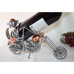 Porte bouteille Motard sur shopper en métal 29xH19cm - Coloris alu et cuivre