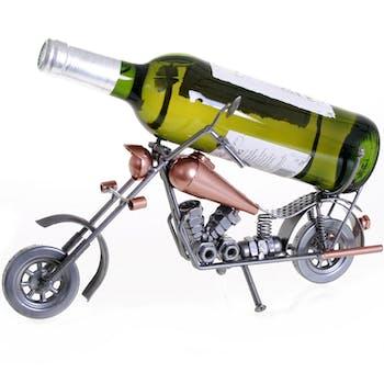 Porte bouteille Moto Chopper en métal, coloris alu et cuivre 35x14x19cm