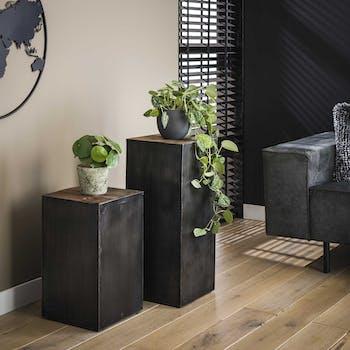 Porte-plante bois et métal patiné style industriel SHEFFIELD