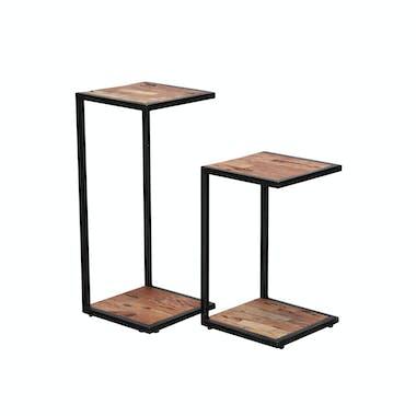 Porte plante métal bois moderne (2 pièces) TRIBECA