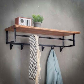 Portemanteau mural bois 1 étagère 6 crochets TRIBECA
