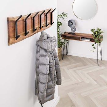 Portemanteau mural bois massif 6 double crochets TRIBECA
