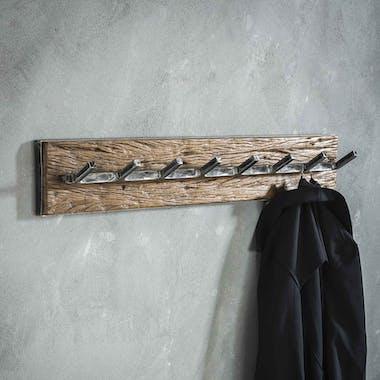 Portemanteau mural bois recyclé brut 8 crochets OMSK