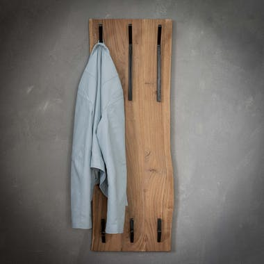 Portemanteau mural vertical bois massif 6 crochets TRIBECA