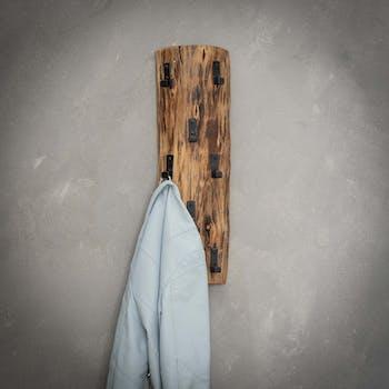 Portemanteau mural vertical bois massif 8 crochets TRIBECA