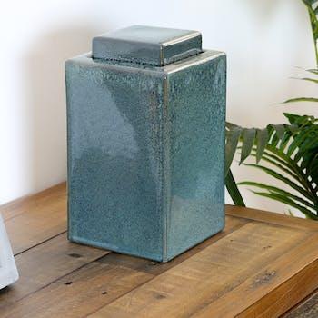 Pot en céramique avec couvercle bleu nuit 14x14x25cm