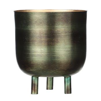 Pot en zinc vert sur pieds 15 cm