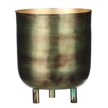 Pot en zinc vert sur pieds 18 cm