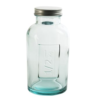Pot verre avec couvercle inscription contenance