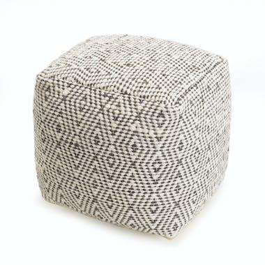 Pouf carré à motifs gris et crème TIM