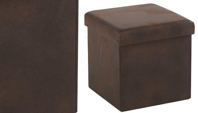 pouf coffre de rangement pliant microfibres marron