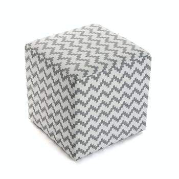 Pouf cube en coton blanc gris motif zigzag 35x35x35cm COPPEN