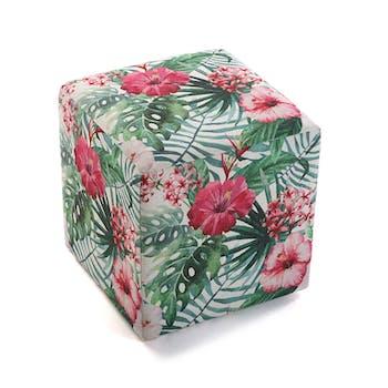 Pouf cube tropical motif feuilles et fleurs roses 35x35x35cm BORNEO