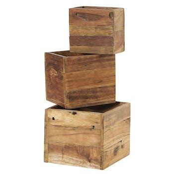 Pouf en bois recyclé (lot de 3)
