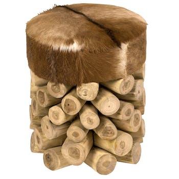 Pouf tabouret rond recouvrement naturel et pied rondins teck D35cm H45cm ARIZONA
