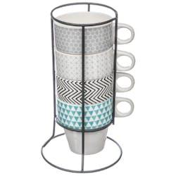 Rack de 4 tasses à anses en porcelaine 4 coloris assortis tons bleu gris noir H21cm