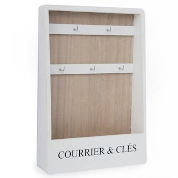 Range courriers et clés mural blanc 32 cm