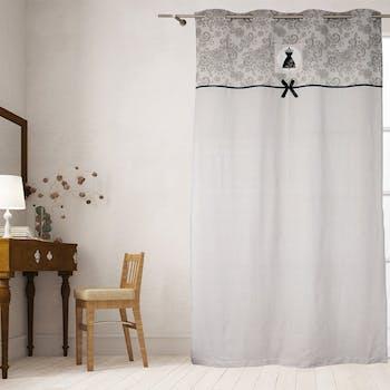 Rideau blanc avec bande imprimé arabesques grises BLACK DRESS 140x240cm