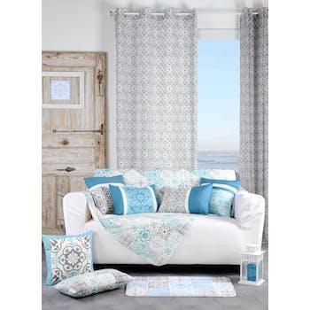 Rideau gris motifs arabesques et étoiles bleues 135x260cm à oeillets LISBOA GRIS