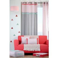 Rideau gris motifs géométriques bleu rouge corail et bandes celadon et rouge 135x260cm à oeillets 100% coton ISOCELE ROUGE
