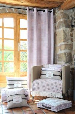 """Rideau Vitrage 45x100cm """"Coq"""" blanc avec lien décor façon carreaux de ciments CHICK"""
