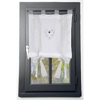 Rideau vitrage 80x160cm écru et gris coeur brodé avec bouton et ruban à nouer décor arabesque floral 100% coton MANOIR
