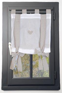 Rideau vitrage blanc romantique coeur brodé ruban à nouer vichy lin 80x160cm 100% coton VERONE