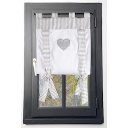 Rideau vitrage romantique rayé écru et gris décor coeur brodé ruban à nouer 45x100cm 100% coton CHINON