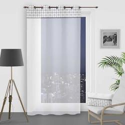 Rideau voilage blanc avec bande damier blanc 135x250cm