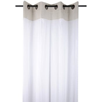 Rideau Voilage charme couleur lin rayé blanc avec dentelle 135x260cm à oeillets 100% coton ANGELE LIN