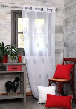 Rideau voilage gris décor ronds arabesques brodés 135x260cm à oeillets KHAN