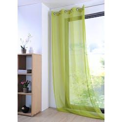 Rideau voilage vert tilleul 135x260cm à oeillets MONNA
