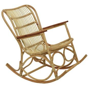 Rocking-chair vintage en rotin