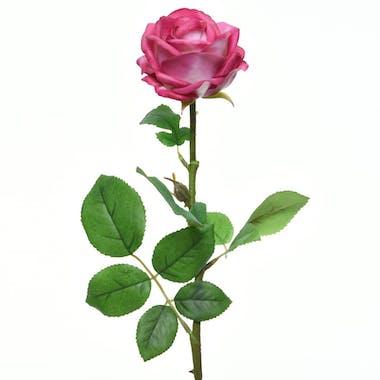 Rose fuchsia en soie sur tige 66cm
