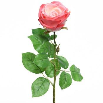 Rose rose en soie sur tige 68cm