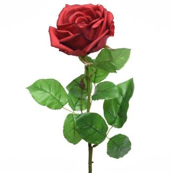 Rose rouge en soie sur tige 68cm
