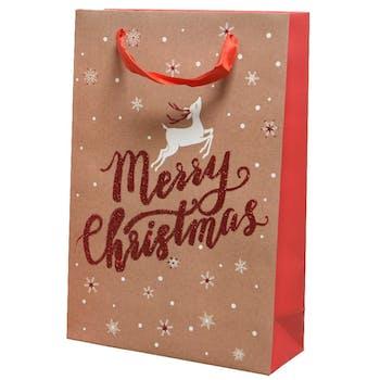 "Sac emballage cadeau GM Noël ""Merry Christmas"""