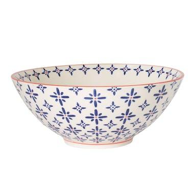 Saladier D,23cm céramique blanc à motifs coloris bleu et orange USHUAIA