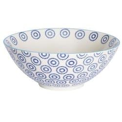 Saladier décor géométrique façon cercles céramique tons bleus foncés D23xH12cm
