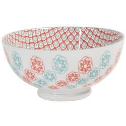 Saladier décor graphique Petites Fleurs porcelaine tons orangés et turquoises D20xH12,5cm